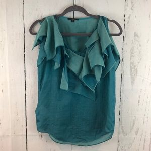 Hugo Boss Teal Silk Blend Ruffle Dress Tank